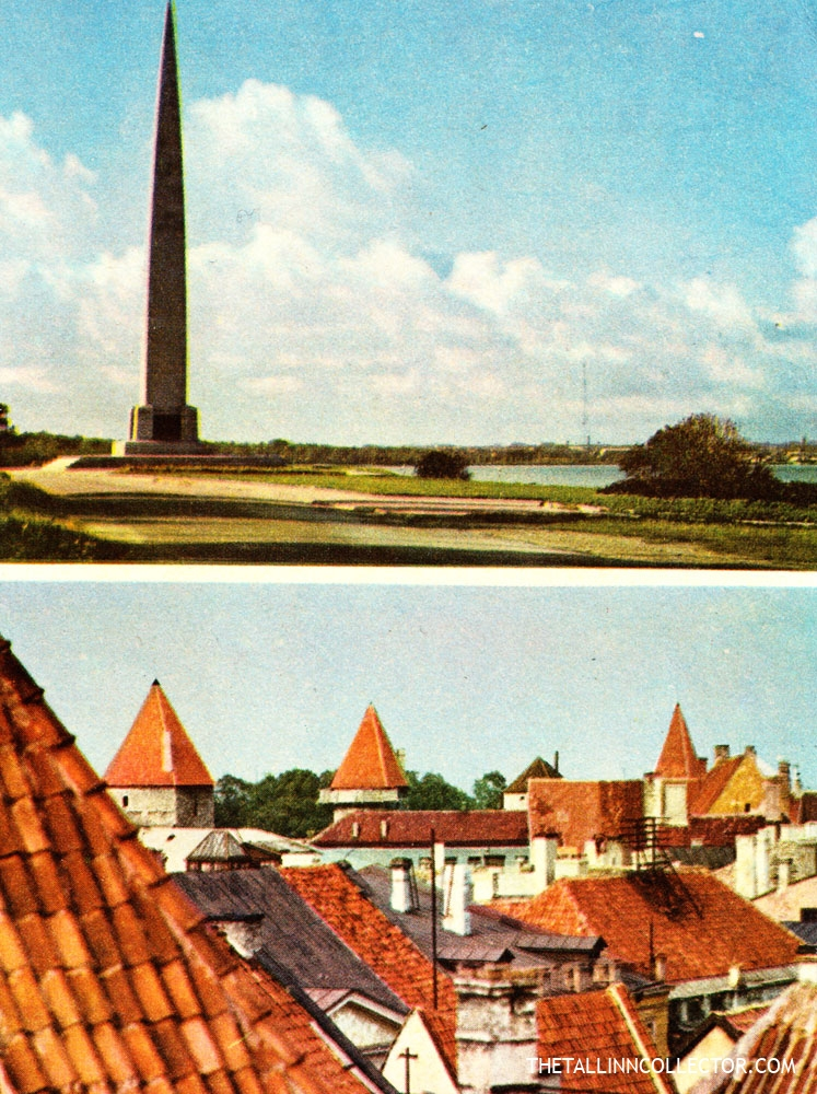 Obelisk in Tallinn commemorating the Navy's Winter Exploit. Roofs of Old Tallinn